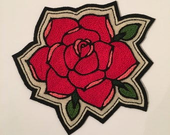 Handmade / hand embroidered black & off white felt patch - large red rose with green leaves - vintage style - traditional tattoo flash