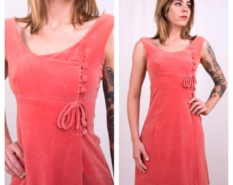 Vintage 1960s - pink velvet sleeveless empire waist wrap style short mini dress - matching buttons bow detail - S / M small medium - 33 bust