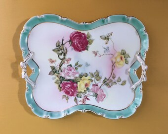 Vintage 1950s - pinup glam white, blue & gold ceramic floral vanity / display tray - pink, yellow, red roses design - bow detail