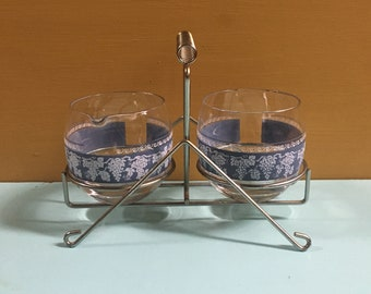 Vintage 1950s - mid century blue & white round glass condiment serving pair set - metal rack - kitchen dining - home table restaurant decor