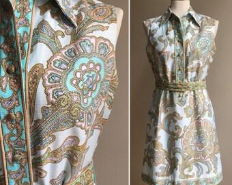 Vintage late 1960s - sleeveless blue, green, gold & pink paisley hippie mini shirt dress - pockets - belt - M - 36 bust 28 30 32 waist