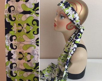 Vintage 1960s - boho hippie lime green, blue & white floral print poly blend headband / neck head scarf - accessories