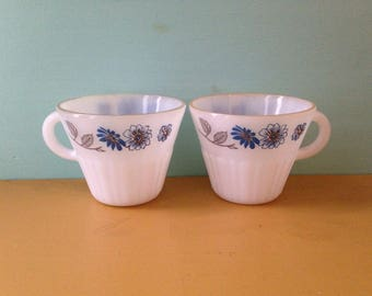 Vintage 1950s / 1960s set of 2 white midcentury Termocrisa teacups / coffee mugs -  blue floral design made in Mexico - Pyrex style