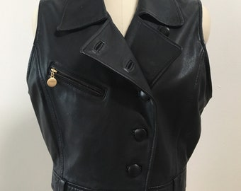 Vintage 1990s - women's punk rock metal fitted cropped short black leather moto vest - Small - up to 38 bust 30 waist