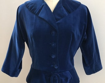 Vintage 1950s - women's blue velvet 3/4 sleeve peplum fall winter suit jacket / coat - S M small medium - 40 bust 27 waist