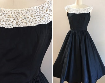 Vintage 1950s - black taffeta full circle skirt party / holiday dress - white lace scoop neck - pearls & rhinestones - 36 bust 26 waist