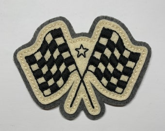 Checkered racing flags patch
