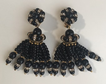 Vintage 1950s - pinup / goth glam black beaded dangle tassel clip on earrings - iridescent rhinestones - costume jewelry - accessories