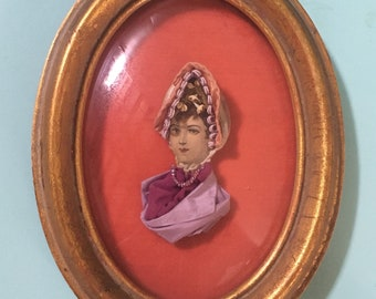 Vintage Antique Victorian early 1900s - mixed media framed 3D woman lady head portrait - velvet satin fabric & paper - home / wall decor