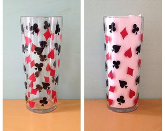 Vintage 1950s 50s 50's single glass midcentury tumbler high ball black & red poker playing cards suite design club diamond spade heart