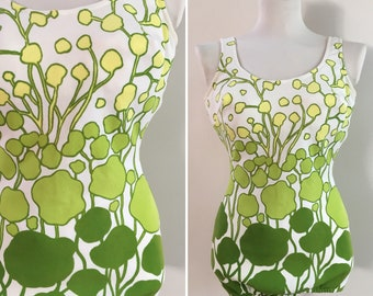 Vintage 1960s - women's pin up white lime green yellow neon ombre floral one piece swimsuit - 36 bust 26 waist - Small