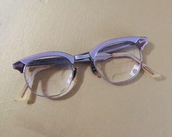 Vintage 1950s - women's rockabilly pinup light pink silver aluminum metal horn rimmed prescription eyeglasses - eyewear - accessories