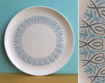 Vintage 1950s - large midcentury round white ceramic serving plate / platter / dish - blue gray floral leaf design - kitchen / home decor