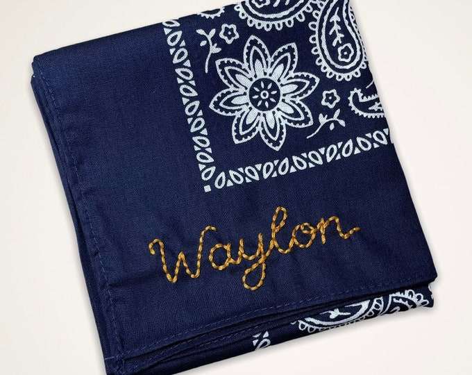 Featured listing image: Vintage style custom embroidered cotton paisley bandanas
