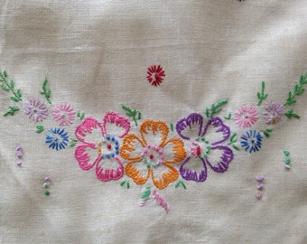 Vintage 1950s - midcentury white linen purple orange & pink floral hand embroidered tablecloth / runner