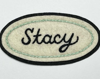 Handmade / hand embroidered off white & blackfelt patch - custom name tag patch - (add your own name or word)