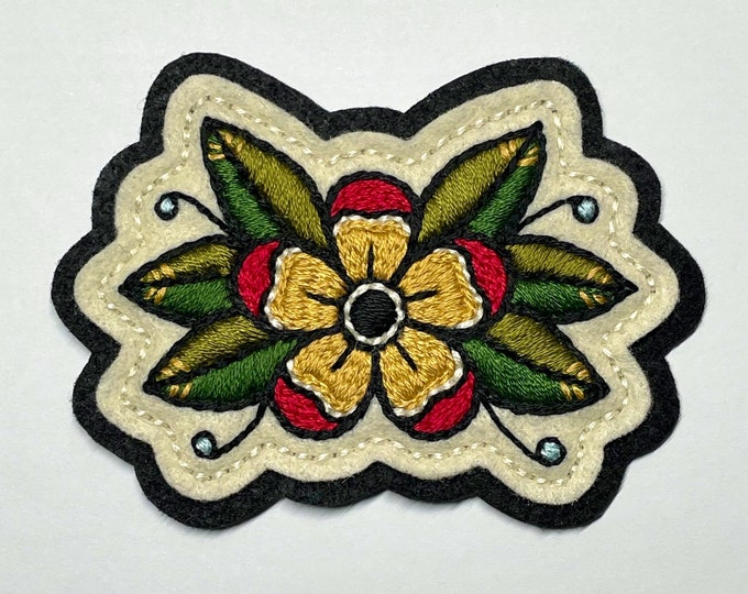 Featured listing image: Small yellow & red traditional flower with leaves patch