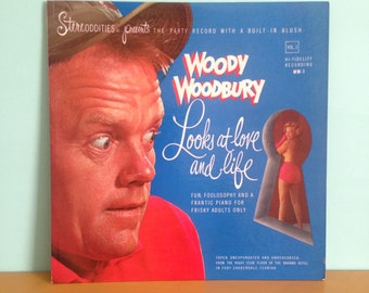 Vintage 1950s - comedy stand up musical 33 LP vinyl record - Woody Woodbury - pinup girl keyhole cover art