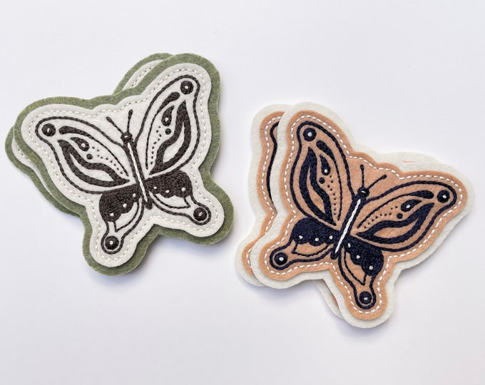 Featured listing image: Traditional butterfly felt patch - off white, green and gray / tan, off white and navy