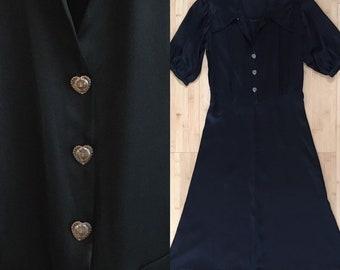 Vintage 1930s - women's puffy half sleeve black sateen shirt dress - peachy pink heart buttons - pointy collar - M Medium - 38 bust 28 waist
