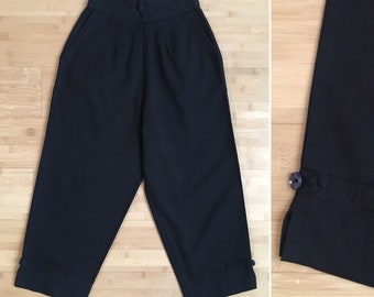 Vintage 1950s - women's black cotton high waisted capri pants / pedal pushers - XS extra small - 22 waist 36 waist