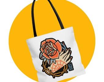 Fast Doll Hand & Rose large logo tote bag