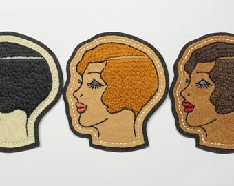 1920s lady head patch