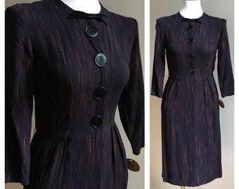 Vintage 1950s / 1960s long sleeve black & orange cotton secretary wiggle dress with pockets - S small - 34 bust - 25 waist