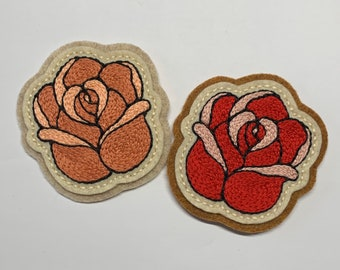 Small blush pink or red rose patch