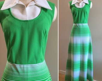 Vintage 1970s - women's fall sleeveless pointy collar lime green white striped polyester maxi dress - L / Large - 38 bust 30 waist
