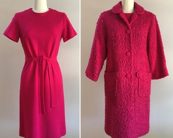 Vintage 1960s - women's 3-piece Mad Men hot pink wool matching set - coat, knit mod shift dress, belt - Small / Medium - 34 bust 31 waist