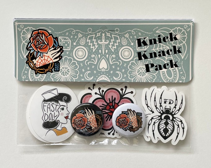 Featured listing image: Fast Doll Knick Knack Pack - assorted stickers, button & magnet set