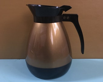 Vintage 1950s - mid century atomic black & gold metallic diner-style round coffee pitcher / thermos - kitchen / home / restaurant decor