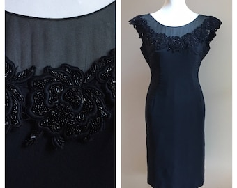 Vintage 1950s - sleeveless off shoulder black acrylic sheath / wiggle / cocktail dress - beaded roses appliqué neckline - 37 bust 31 waist