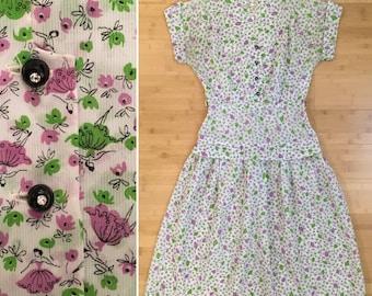 Vintage 1950s - rockabilly short sleeve white spring day dress - green & purple ballerina novelty print - Small - 36 bust 26 waist