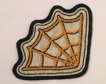 Handmade / hand embroidered off-white & black felt patch - corner spiderweb - vintage style - traditional tattoo flash