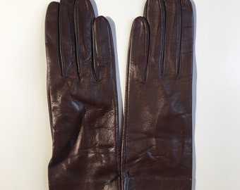 Vintage 1950s - women's pin up NOS new old stock never worn fall winter soft brown leather fitted gloves - accessories