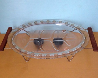 Vintage 1950s 50s 50's large glass oval atomic starburst sunburst holiday party serving tray warming stand wooden handles home kitchen decor