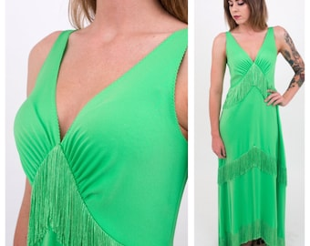 Vintage late 1960s - lime green sleeveless tiered fringe flapper maxi dress - Frederick's of Hollywood - M/L - 40 bust - up to 44 waist