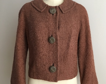 Vintage 1950s / 1960s - women's pin up rockabilly 3/4 sleeve light brown boucle tweed wool fall jacket - Medium Large - 38 bust 36 waist