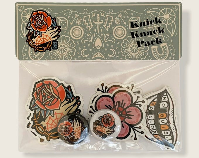 Featured listing image: Fast Doll Knick Knack Pack - assorted stickers & buttons set