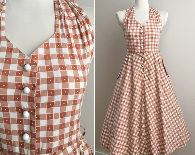 Featured listing image: Vintage 1950s - pin up vlv white & orange square print cotton full skirt halter sundress / day dress pockets - S small - 33 34 bust 26 waist