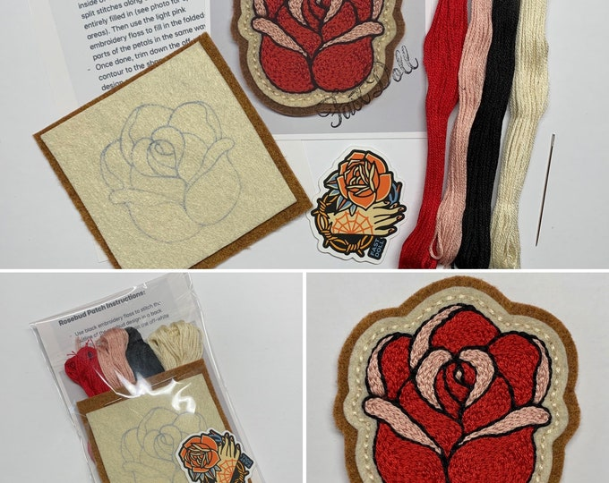 Featured listing image: Fast Doll DIY hand-stitch tattoo felt patch kits - 'Mama Tried', spiderweb, bolt, cherries, rosebud, skull, 'Stay Gold' heart, crescent moon
