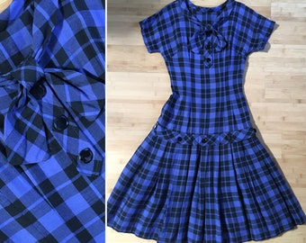 7be7b57018c Vintage 1950s 50s 50 s pinup rockabilly black blue plaid cotton short  sleeve drop waist day dress S small 32 34 bust 25 waist