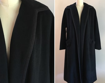 Vintage 1940s - women's pin up glam black open soft wool long fall winter overcoat coat - woven piping - pockets - one size / no closure