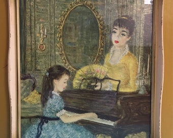 Vintage 1950s - mid century Monte fine art print 'Playing For Mother' - decorative shabby chic frame - home / wall decor