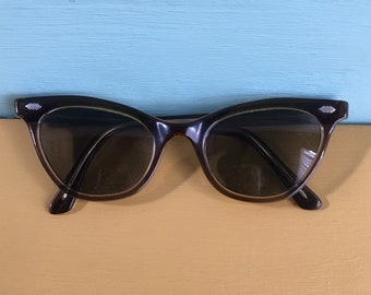 Vintage 1950s - women's pin up glam rockabilly dark green cat eye sunglasses / glasses - prescription bifocal lenses