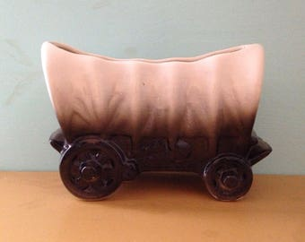 Vintage 1950s - midcentury white & black ceramic Old West covered wagon indoor planter