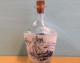 Vintage 1950s / 1960s - French glass bottle decanter / jug - river outdoor scene w/ ship carriage bridge - home decor barware drinkware