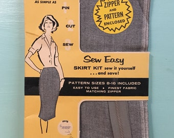 Vintage 1950s - women's new old stock 'Sew Easy' DIY gray pin up rockabilly pencil wiggle skirt sewing kit - fabric, pattern & zipper